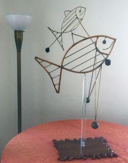 1970's kinetic copper fish sculpture