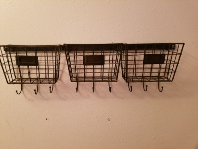 3 wire baskets with hooks