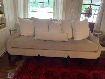 Classic with clean lines cream Marge Carson sofa