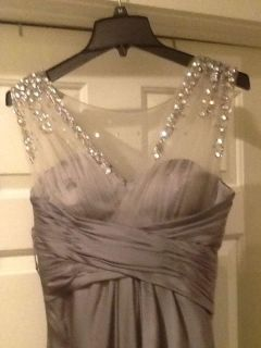 Beautiful gray satin & sheer formal gown. Size 0