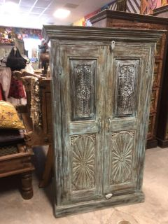 Antique Armoire, Rustic Blue Door Cabinet