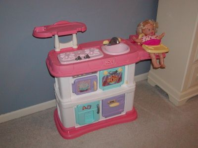 Fisher Price Grow With Me Pink Kitchen with build in baby high chair and doll