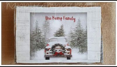 Red Christmas truck Wood Sign