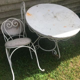 child size cute ice cream parlor style table and two chairs, definite re-do project but originally paid over $150 for this set