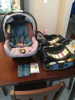 Chicco KeyFit 30 infant car seat and two bases in unisex teal green. Expires June 2019