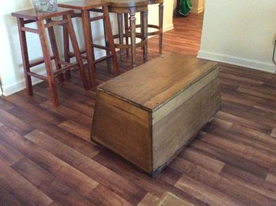 Small old wooden trunk