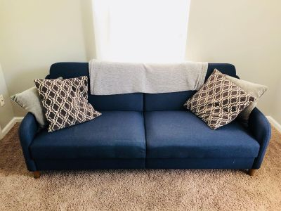 Navy blue folding couch/futon