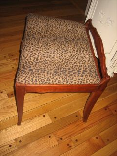 vintage bench or stool with leopard fabric