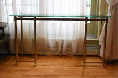 Gorgeous Glass on Brass Italian Console Table