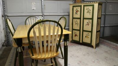 Dining Set With Four Chairs And Matching Kitchen Pantry.