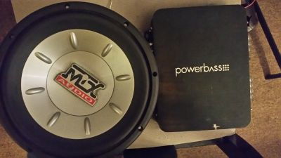 Mtx 10 inch sub and powerbass 200.2 amp