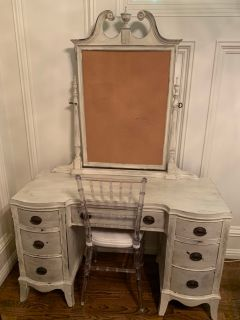 Painted Desk and Bamboo Ghost Chair