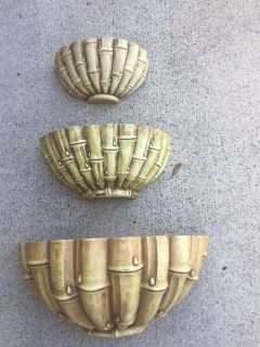 3 Piece Wall Mounting Bamboo Looking Flower Pots