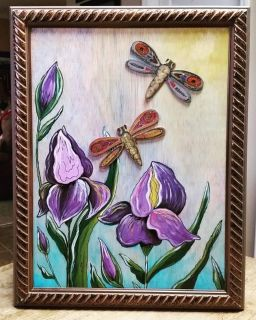 Iris and Dragonflies Painting