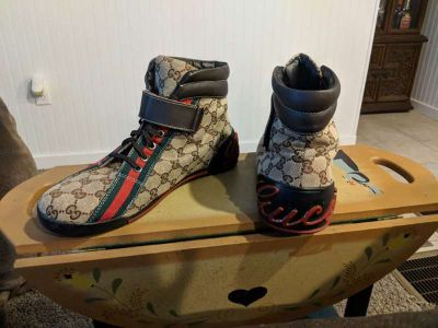 Monogrammed Black,Green and Red Gucci High Tops
