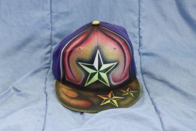 Custom flat brim hat.