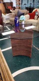 Woven wood base dining table