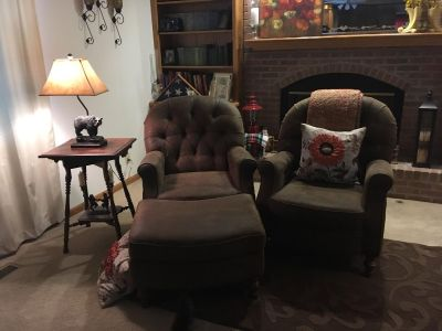 Club chairs and ottoman