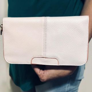Faux leather cross-body bag, includes adjustable solid shoulder and wrist strap