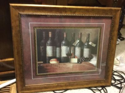 Wine Bottle Picture in Wood Frame