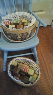 Two handmade Woven Baskets With Vintage Alphabet  Blocks