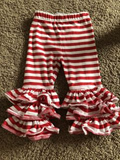 Natalie Grant red and white ruffle pants