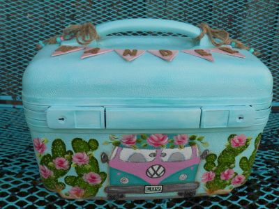 """Hand Painted """"Wander"""" Train Case"""