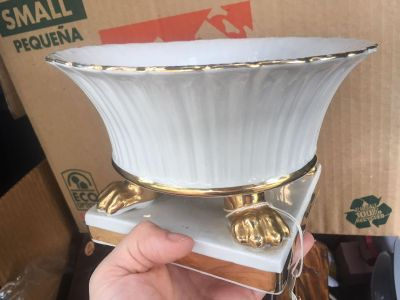 Gorgeous footed pedestal bowl from Spain, stamped
