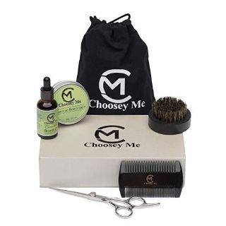 Beard Growth Grooming and Trimmer Kit With Essential Oil Conditioner And Balm Moisturizer Black Boar Bristle Brush, Comb, Trimming Scissors