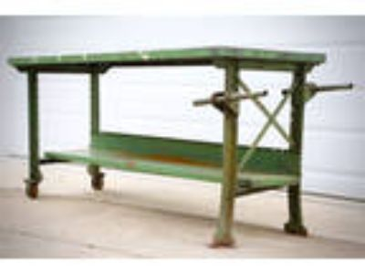 Vintage Industrial Green Steel Legs Workbench Kitchen Island