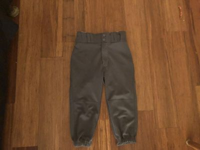 Youth small baseball pants grey in color
