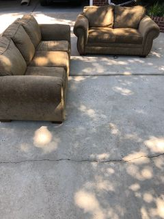 Sofa and love seat - brown fabric