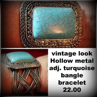 Turquoise vintage look hollow metal adjustable cuff bracelet