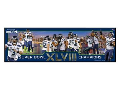 "SEATTLE SEAHAWKS SUPER BOWL XLVIII COMMEMORATIVE PLAQUE 30""x 9"" ** NEW **"