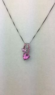 Sterling Silver Pink Double Heart Necklace