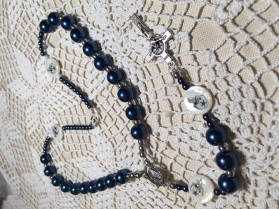 Auto Rosary Dallas Cowboys Custom Made Pater Beads Blue Silver Special Clasp Italian Silver Meda...