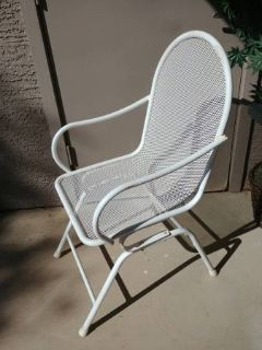 Vintage white metal outdoor chair