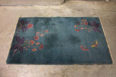 Teal/blue Chinese wool rug