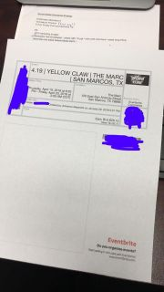 One (1) Yellow Claw Ticket