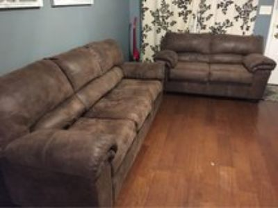 suede/leather material brown sofa and loveseat