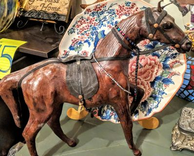 GENUINE Leather Horse with leather saddle and harness