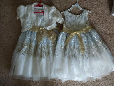 TWO size 6 cream, gold and silver dresses