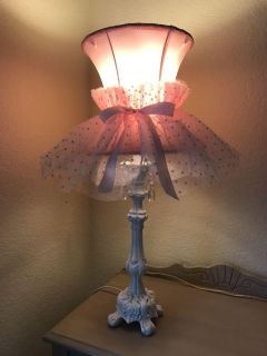 Beautiful Pink Lamp with white base 26 tall