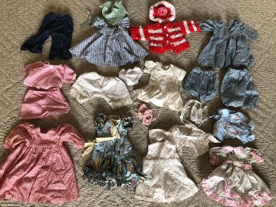 American girl doll sized clothes and doll carrier and girls shoes size 12-1