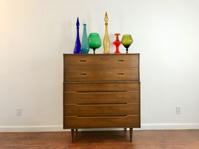 MID CENTURY MODERN 6 Drawer Highboy Dresser