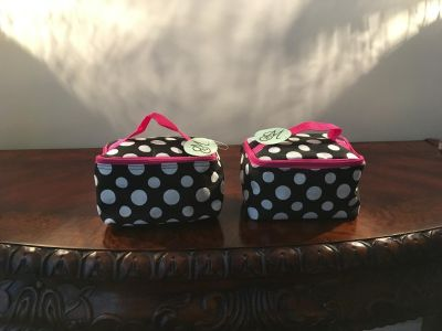 New Two Black, White and Pink Makeup Bags
