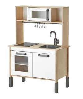 Wooden play kitchen and accessories
