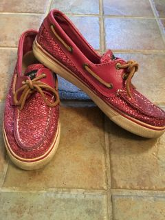 Sperry pink sparkles size 7