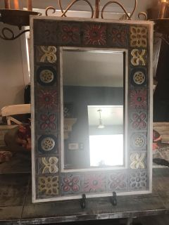 Large wood framed pier one mirror