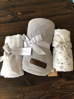2 Angel Dear swaddles and gray stroller blanket. New with tags.
